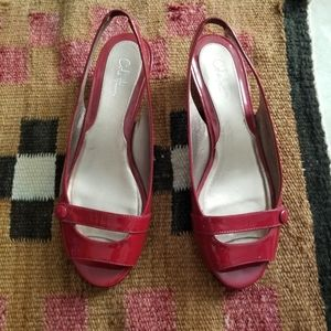 Cole Haan Red Patent Leather Slingback Wedges